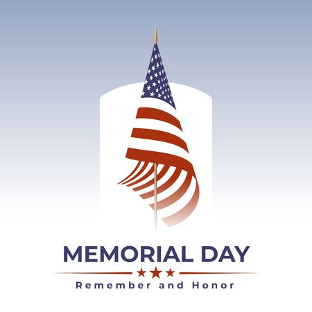Memorial Day in USA with lettering remember and honor. Holiday of memory and honor of soldiers, military personnel who died while serving in the United States Armed forces. Vector banner