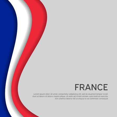Abstract waving france flag. Paper cut style. Creative background for patriotic, festive card design. National Poster. State French patriotic cover, booklet, flyer. Vector tricolor design Ilustrace