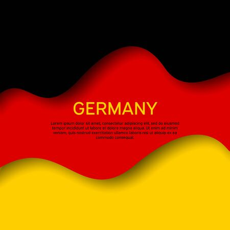 Abstract waving germany flag. Creative background for patriotic holiday card design. Paper cut style. Graphic abstract background for a poster. Vector illustration of the German flag. Banner Ilustrace