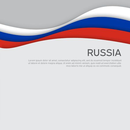 Abstract waving flag of russia. Paper cut style. Creative background for design of patriotic holiday card. National poster. State russian patriotic cover, flyer. Vector tricolor design