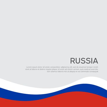 Abstract waving flag of russia. Creative background for design of patriotic holiday card. National poster. State russian patriotic cover, flyer. Vector tricolor design Ilustrace