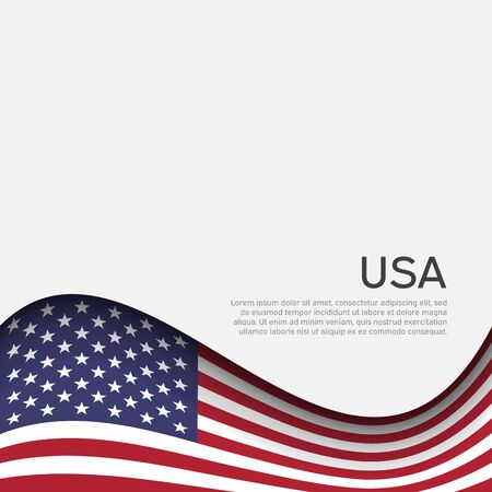 Abstract waving usa flag. Creative background for american patriotic holiday design. National usa poster. Business booklet, cover, banner in US colors. Paper cut style. Vector design