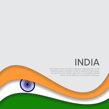 Abstract waving flag of india. Paper cut style. Creative background for patriotic holiday card design. National Poster. State Indian patriotic cover, flyer. Vector tricolor design