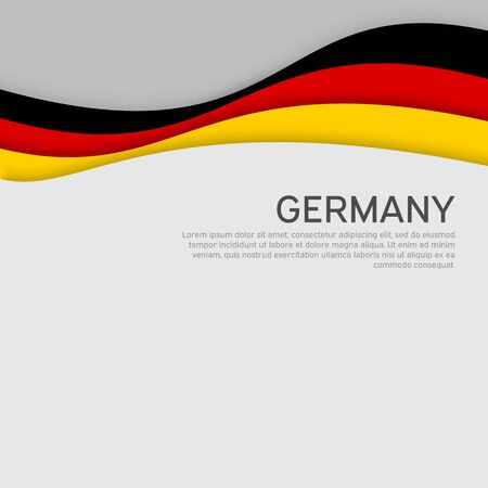 Abstract waving germany flag. Paper cut style. Creative background for design of patriotic holiday card. National poster. State German patriotic cover, flyer. Vector tricolor design Ilustrace