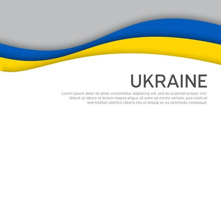 Cover, banner in state colors of Ukraine. Abstract waving flag of ukraine. Paper cut style. Creative background for patriotic holiday card design. National Poster. Vector design Ilustrace