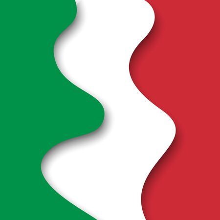 Abstract waving italy flag. Creative background for Italy holidays postcard design. Business booklet. Paper cut style. Graphic background for poster. Vector illustration of the italian flag. Banner
