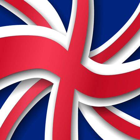 Great Britain flag background. UK flag pattern in cut paper style. National poster of the united kingdom. Vector design. Great britain state patriotic cover, banner