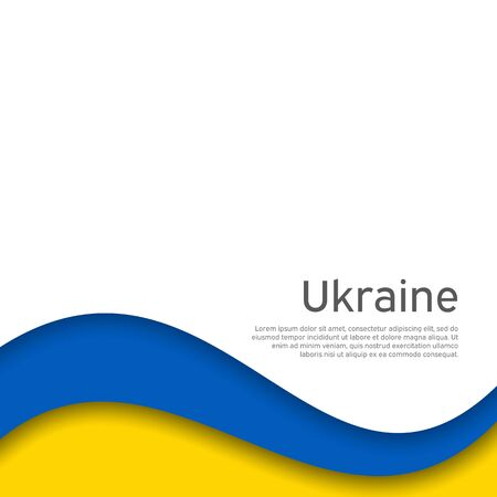 Abstract waving flag of ukraine. Paper cut style. Creative background for patriotic holiday card design. National Poster. Cover, banner in state colors of Ukraine. Vector design