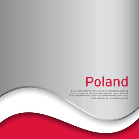 Cover, banner in national colors of Poland. Abstract waving poland flag. Patriotic cover, business booklet, flyer. National polish poster. Paper cut. Vector design, illustration