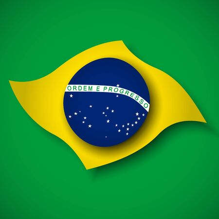 Abstract waving brazil flag. Creative background for Brazil holidays card design. Business booklet. Paper cut style. Graphic background for poster. Vector illustration of the Brazilian flag. banner Illusztráció