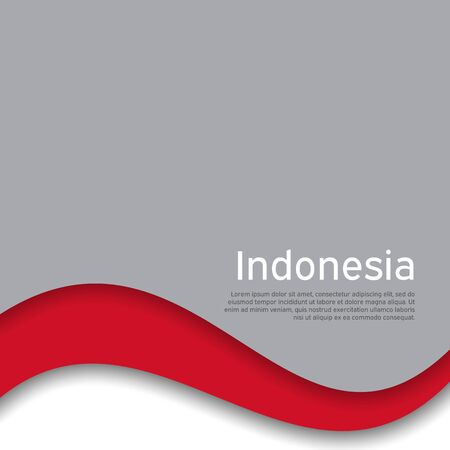 Cover, banner in national colors of Indonesia. Abstract waving flag of indonesia. Paper cut style. Creative background for patriotic holiday card design. National Poster. Vector design Illusztráció