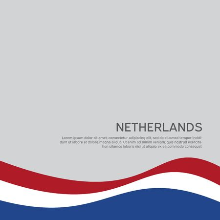 Abstract waving flag of netherlands. Creative background for patriotic holiday card design. National Poster. Cover, banner in state colors of the Netherlands. Vector tricolor design Illusztráció