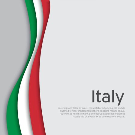 Abstract waving italy flag. Creative background in Italy flag colors for holiday card design. National Poster. State Italian patriotic cover, business booklet, flyer. Paper cut. Vector design Stock fotó - 150123493