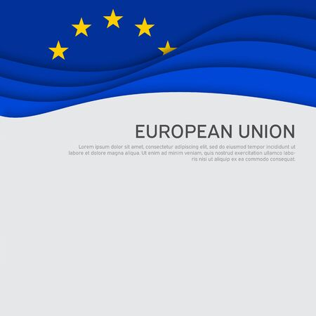 Cover, banner in the colors of the European Union. Background - wavy flag of the European Union. Cover design, business booklet, flyer, poster. Paper cut style. Vector illustration Illusztráció