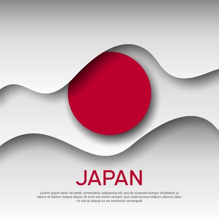 Japan abstract flag background for creative design. Graphic wavy japanese background, pattern. Cut out of paper. Japan flag vector design for poster, banner