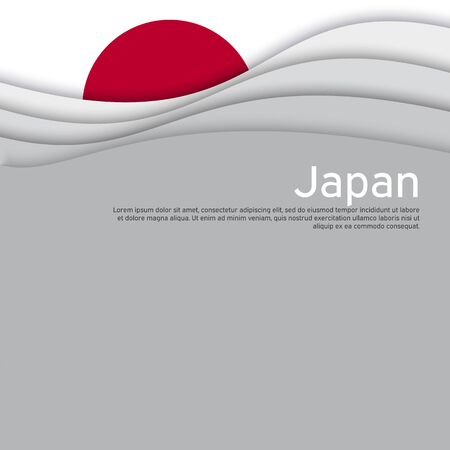 Cover, banner in the colors of Japan. Background - Japan wavy flag. Paper cut style illustration. Japanese flag vector design for business booklet, flyer, cover, poster