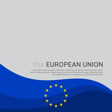 Cover, banner in the colors of the European Union. Background - wavy flag of the European Union. Cover design, business booklet, flyer, poster. Vector illustration