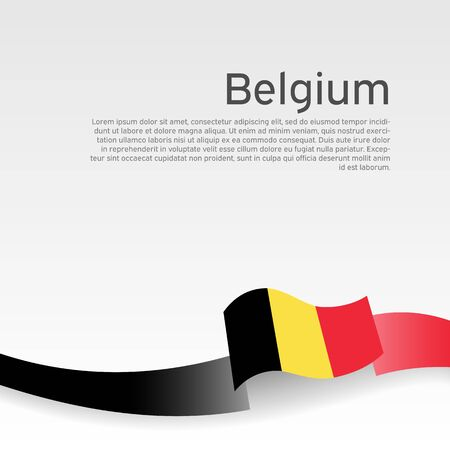 Belgium flag background. Belgium flag color wavy ribbon on a white background. National poster design. State belgian patriotic banner, flyer. Business booklet. Vector illustration