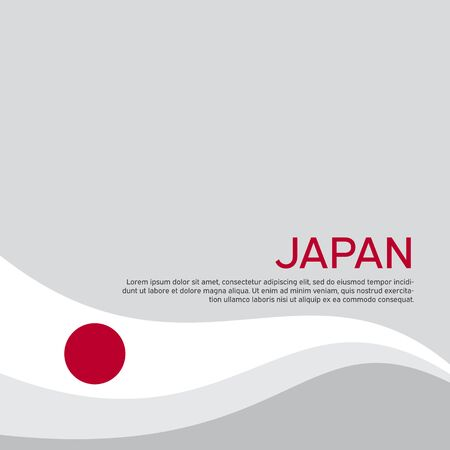 Cover, banner in the colors of japan. Background - japan wavy flag. Flat style illustration. Japanese flag vector design for business booklet, flyer, cover, poster
