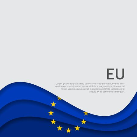 Cover, banner in the colors of the European Union. Background - wavy flag of the European Union. Cover design, business booklet, flyer, poster. Paper cut style. Vector illustration  イラスト・ベクター素材