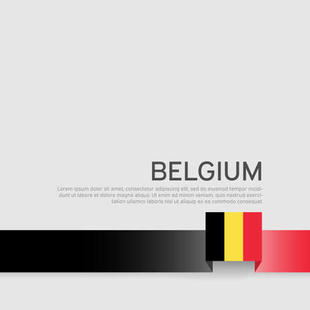 Belgium flag background. Belgium flag colored ribbon on a white background. National Poster. Business booklet. Vector flat design. State belgian patriotic banner, cover 向量圖像