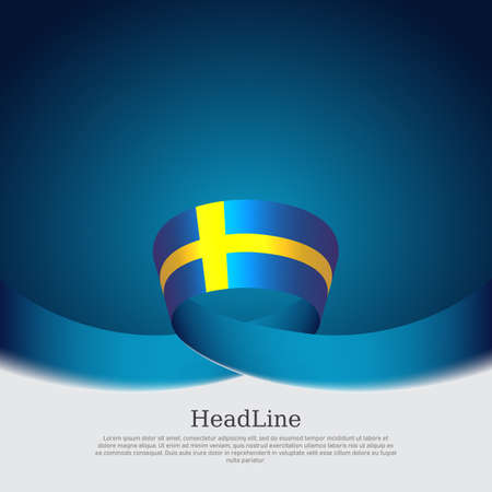 Background with flag of sweden. Sweden flag with wavy ribbon on a blue white background. Vector design state patriotic banner, cover, business flyer. National swedish poster 向量圖像