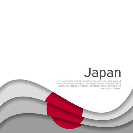 Cover, banner in the colors of japan. Background - japan wavy flag. Paper cut style illustration. Japanese flag vector design for business booklet, flyer, poster, cover