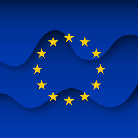European union abstract flag background for creative design. Graphic wavy background, template. Paper cut. Ilustração