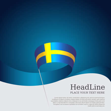 Background with flag of sweden. National swedish Poster. Sweden flag with wavy ribbon on a blue white background.