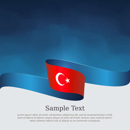 Turkey flag with wavy ribbon on a blue white background. Background with flag of turkey. Turkish national poster. Vector design state patriotic banner, cover, business flyer Çizim