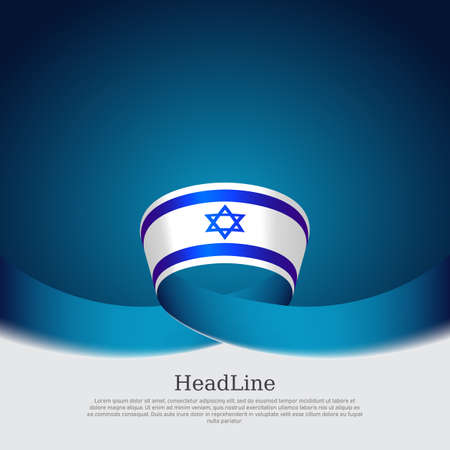 Color wavy ribbons of the flag of israel on a white blue background. Israel flag background. State israeli patriotic flyer, banner. National poster. Business booklet. Vector design Illusztráció