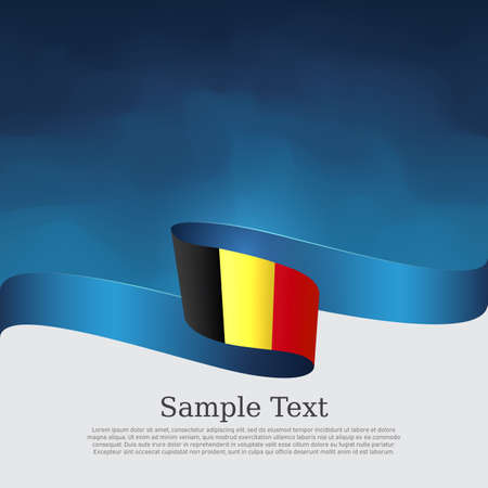 Belgium flag background. Belgium flag with wavy ribbon on a blue white background. National Belgian Poster. Vector design state patriotic banner, business flyer, cover