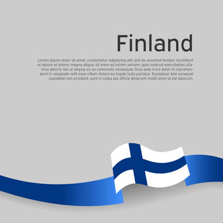 Finland flag background. Finland flag wavy ribbon on a white background. National poster design. State finnish patriotic banner, flyer. Business booklet. Vector illustration 矢量图像