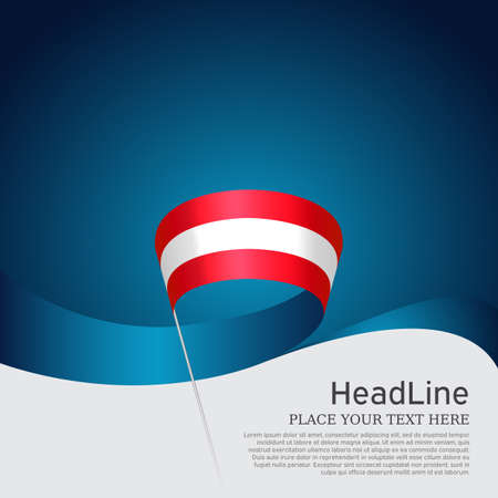 Austria flag background. Austria flag with wavy ribbon on a blue white background. National austrian poster. Vector design state patriotic banner, cover, flyer. 矢量图像