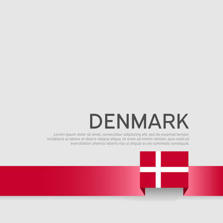 Denmark flag background. Business booklet. Denmark flag colored ribbon on a white background. National Poster. Vector flat design. State danish patriotic banner, cover