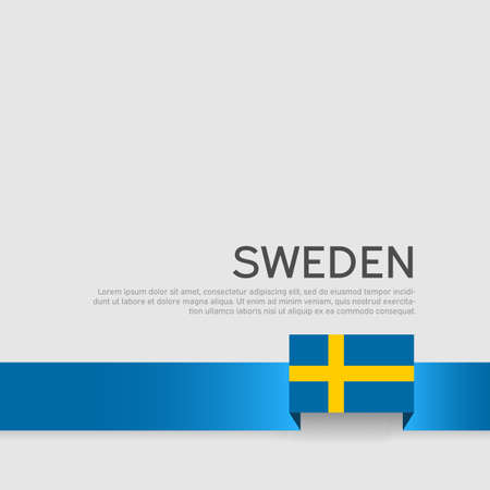 Sweden flag color ribbon on a white background. Background with flag of sweden. Business booklet. State swedish patriotic banner, cover. National poster. Vector flat design 向量圖像