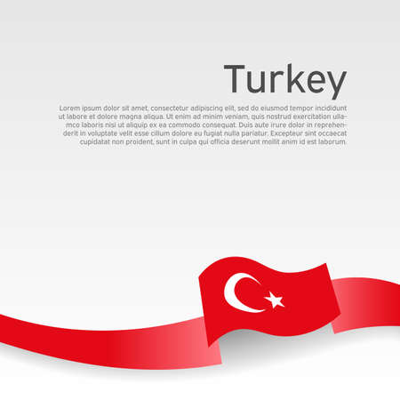 Background with flag of turkey. Turkey flag with wavy ribbon on a white background. National poster design. Business booklet. State turkish patriotic banner, flyer. Vector illustration