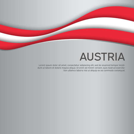 Abstract waving flag of austria. Paper cut style. Creative background for the design of the patriotic holiday card of austria. National poster. Austrian state business booklet, cover. Vector design