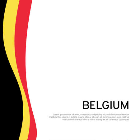 Abstract waving belgium flag. Creative background for belgium holidays postcard design. Business booklet. Paper cut style. Graphic background for poster. Vector illustration of belgian flag. Banner