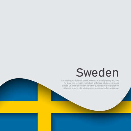 Sweden flag on a white background. National poster design. Business booklet. State swedish patriotic banner, flyer. Background with flag of sweden. Wave pattern. Vector illustration 矢量图像