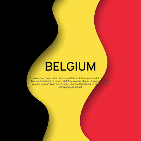 Abstract waving belgium flag. Creative background for belgium holidays postcard design. Business booklet. Paper cut style. Graphic background for poster. Vector illustration of the belgian flag. banner