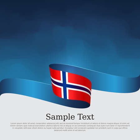 Background with flag of norway. Flag of norway with wavy ribbon on a blue white background. National norwegian poster. Vector design state patriotic banner, cover, business flyer