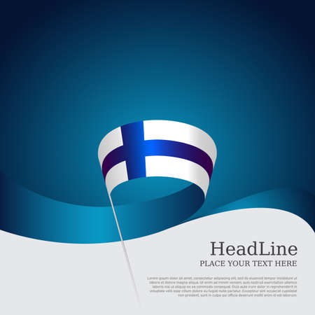 Background with flag of finland. National finnish poster. Finland flag with wavy ribbon on a blue white background. Vector design state patriotic banner, cover, business flyer 矢量图像