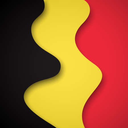 Abstract waving belgium flag. Creative background for belgium holidays postcard design. Business booklet. Paper cut style. Graphic background for poster. Vector illustration of the belgian flag. banner 免版税图像 - 151144594