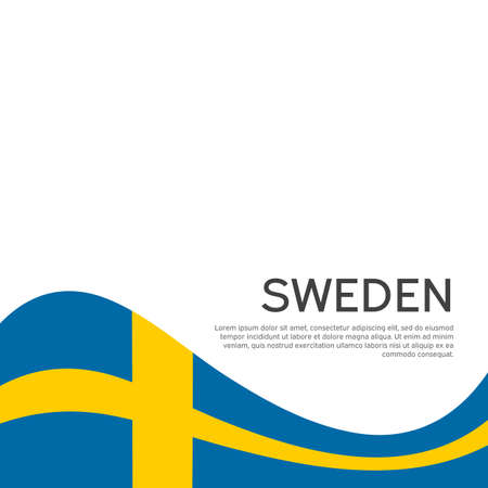 Background with flag of sweden. Sweden flag on a white background. National poster design. Business booklet. State swedish patriotic banner, flyer. Wave pattern. Vector illustration Illusztráció