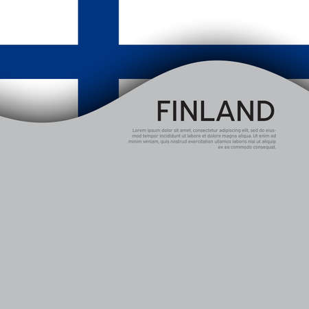 Finland flag background. Finland flag on a white background. National poster design. State finnish patriotic banner, flyer. Business booklet. Paper cut style. Vector illustration