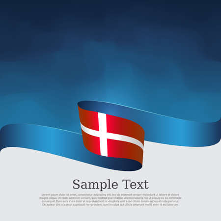Denmark flag background. Danish national poster. Denmark flag with wavy ribbon on a blue white background. Vector design state patriotic banner, cover, business flyer Illusztráció