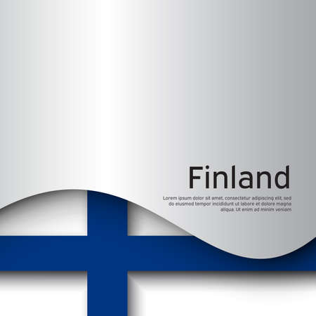 Finland flag background. Business booklet. Finland flag on a white background. National poster design. Paper cut style. State finnish patriotic banner, flyer. Vector illustration