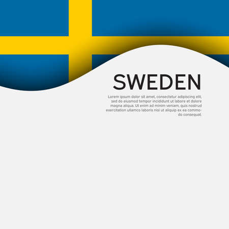 Background with flag of sweden. Sweden flag on a white background. State swedish patriotic banner, flyer. National poster design. Business booklet. Wave pattern. Vector illustration 矢量图像