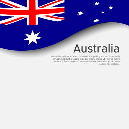 Australia flag on a white background. National poster design. Business booklet. State australian patriotic banner, flyer. Background with australia flag. Paper cut style. Vector illustration